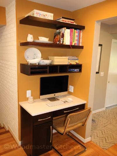 Built in desk in a kitchen design.