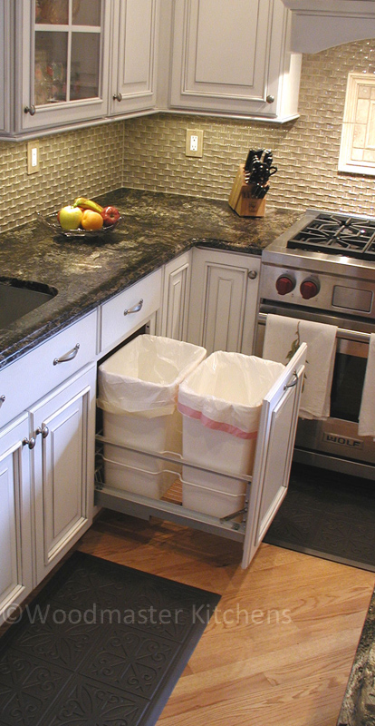 Pull out waste disposal bins.