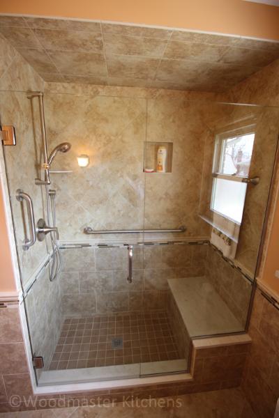 Bathroom design with a built in storage niche in the shower.