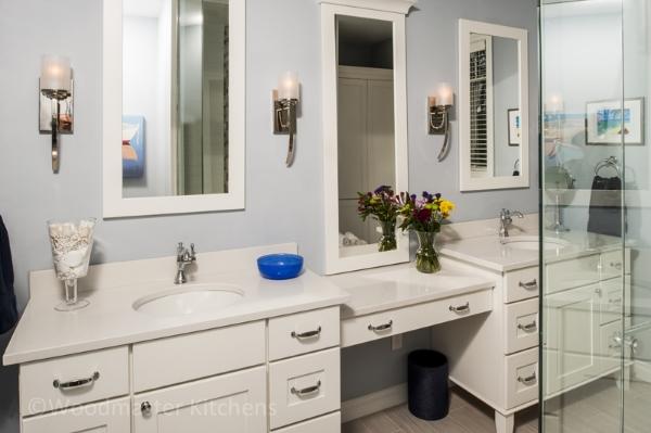 Contemporary bathroom design with built in storage.