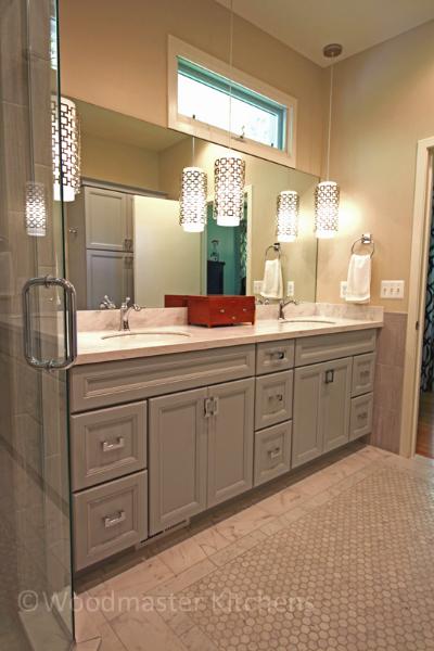 Contemporary bathroom design with a double vanity