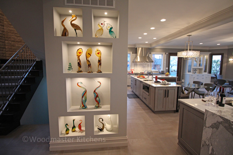 Open shelves in a kitchen design