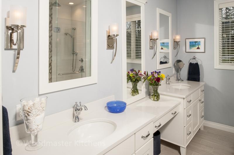 White bathroom design with window.