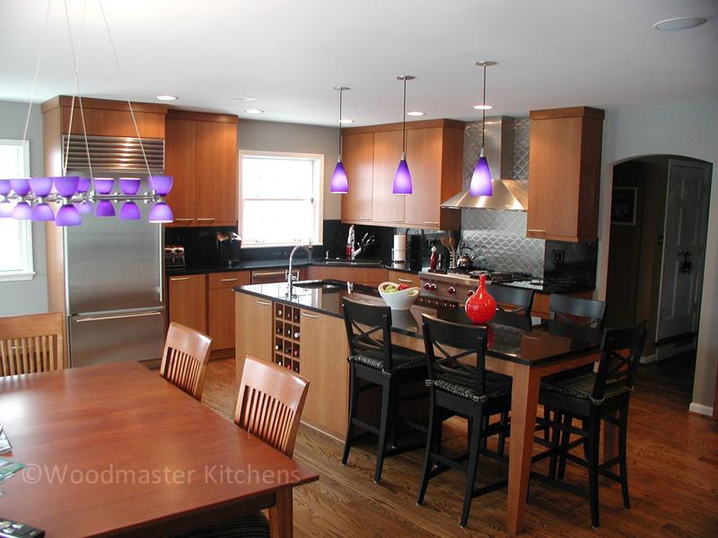 Modern kitchen design with purple pendant lights
