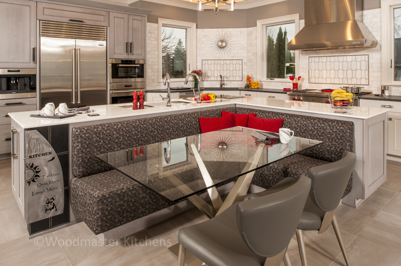 Gray and white kitchen design with red accent color