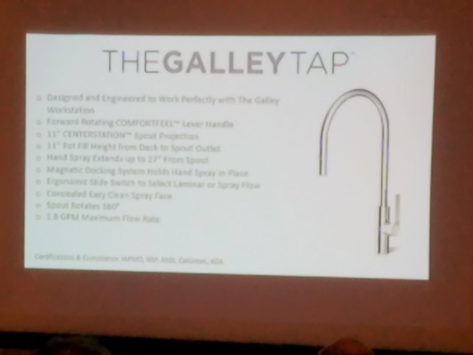 Galley Workstation featuring Galley tap presentation at SEN Fall 2017 conference
