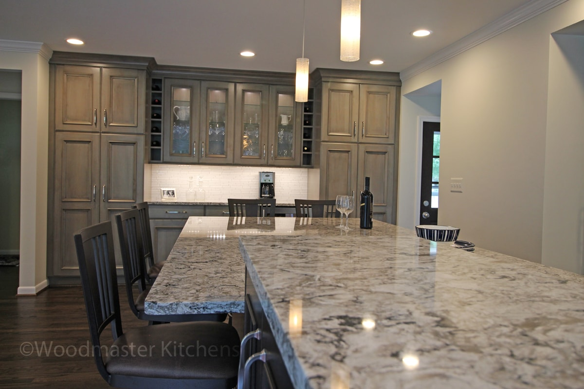 kitchen design with gray and white countertop