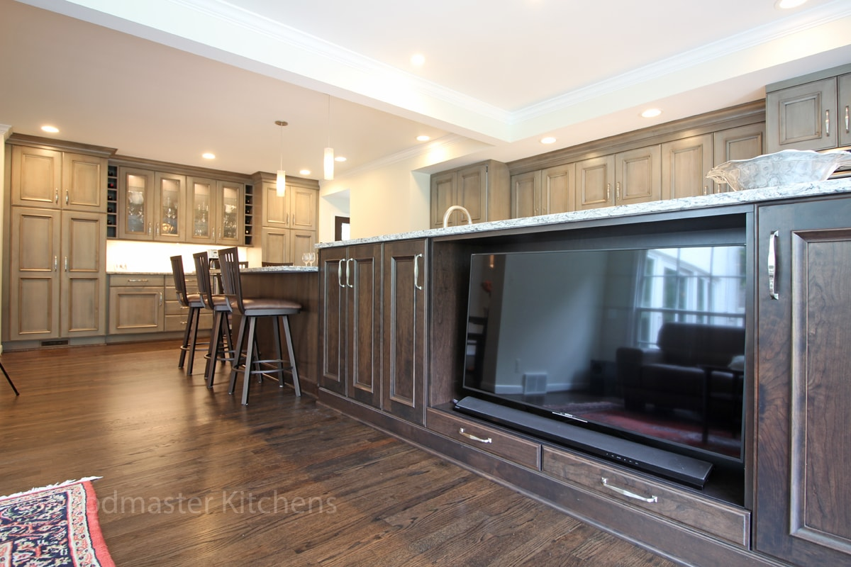 kitchen design with built in television