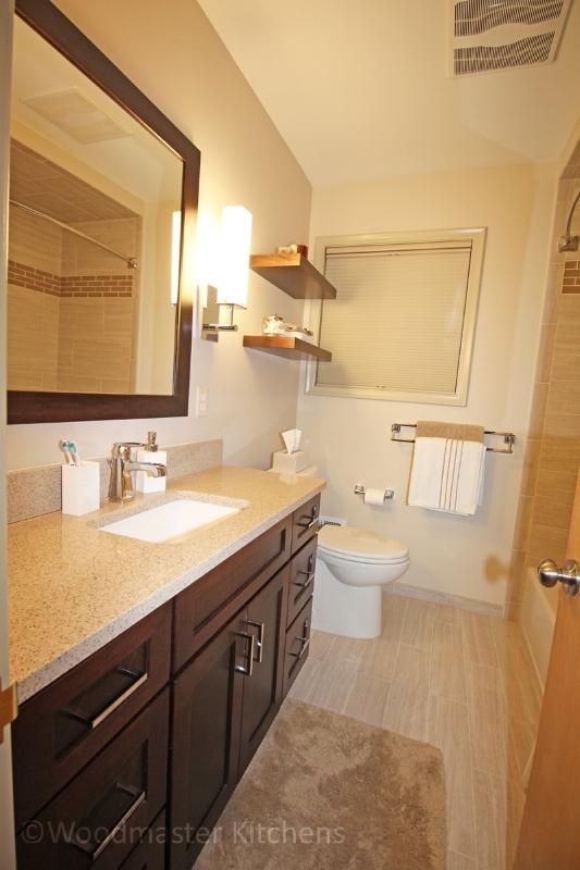 Bathroom design with floating shelves
