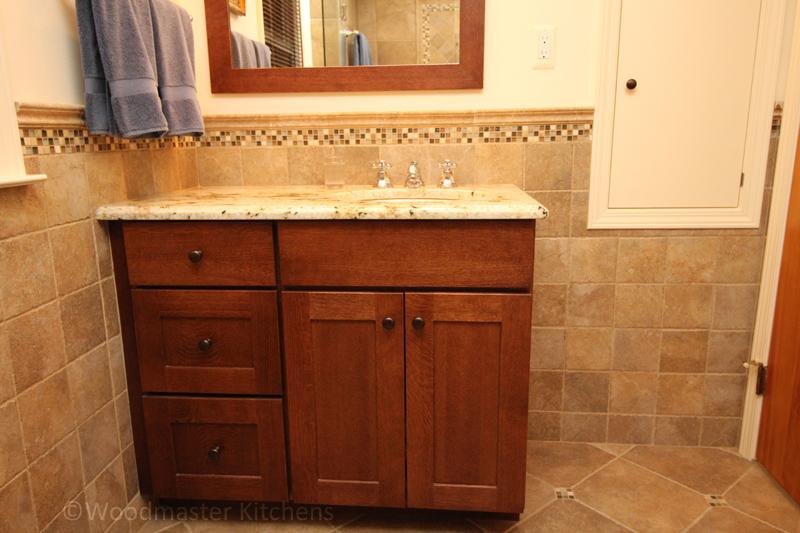 Warm wood finish vanity cabinet