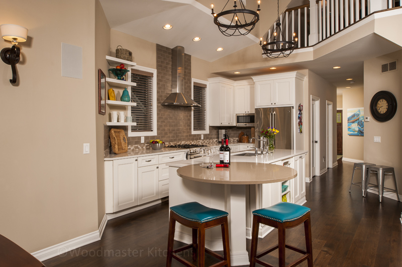 Kitchen design with colorful barstools