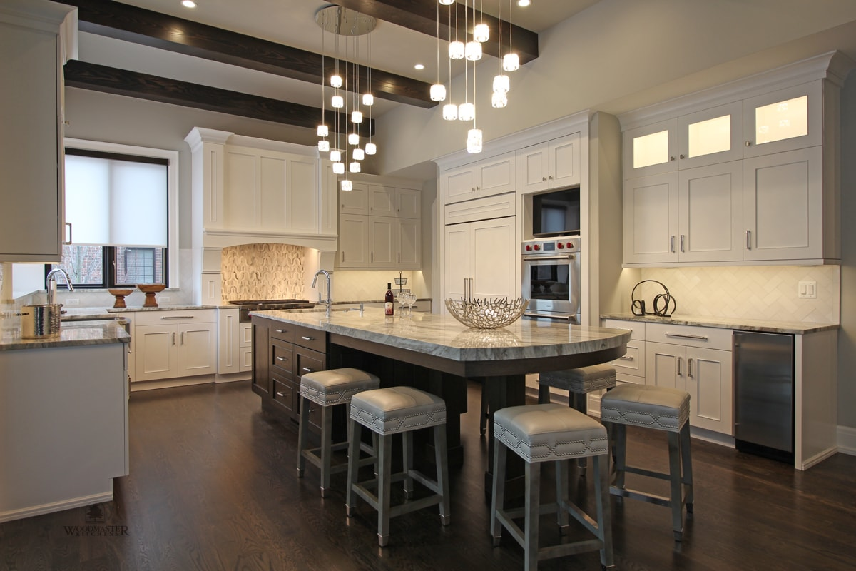 long kitchen island with barstools
