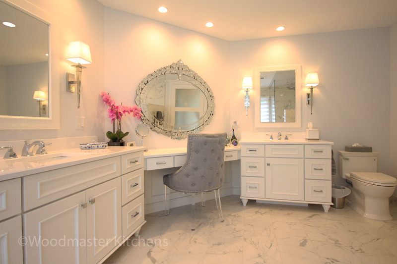 Master bath design with white vanity