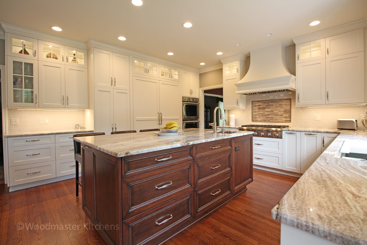 white kitchen cabinets with glass fronts