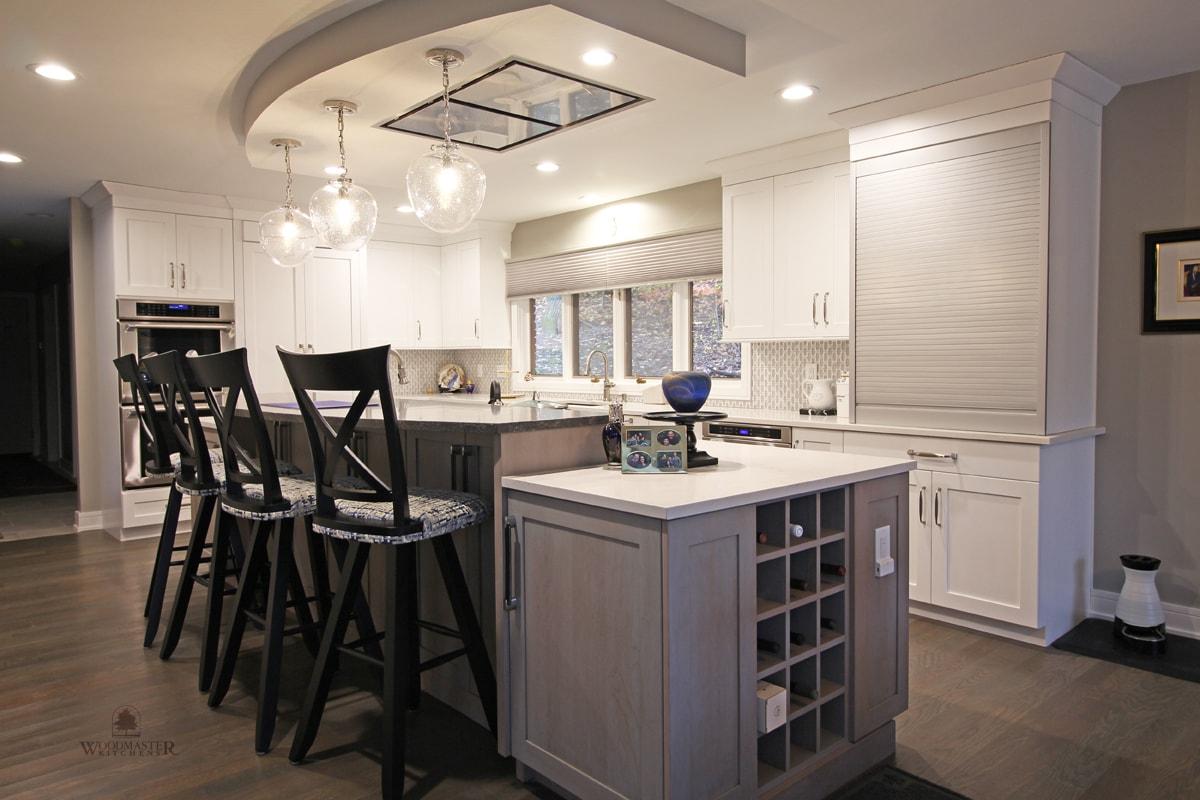 large kitchen island with wine rack