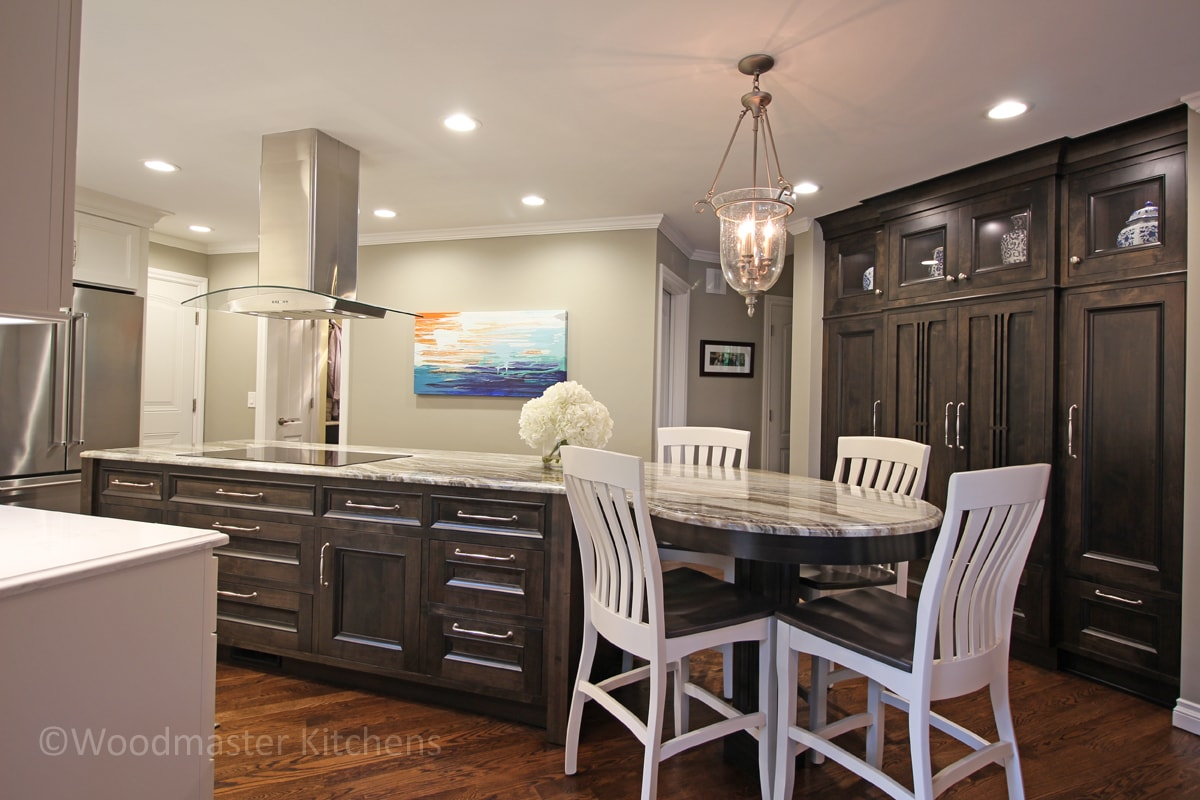 kitchen design with island with tabletop end