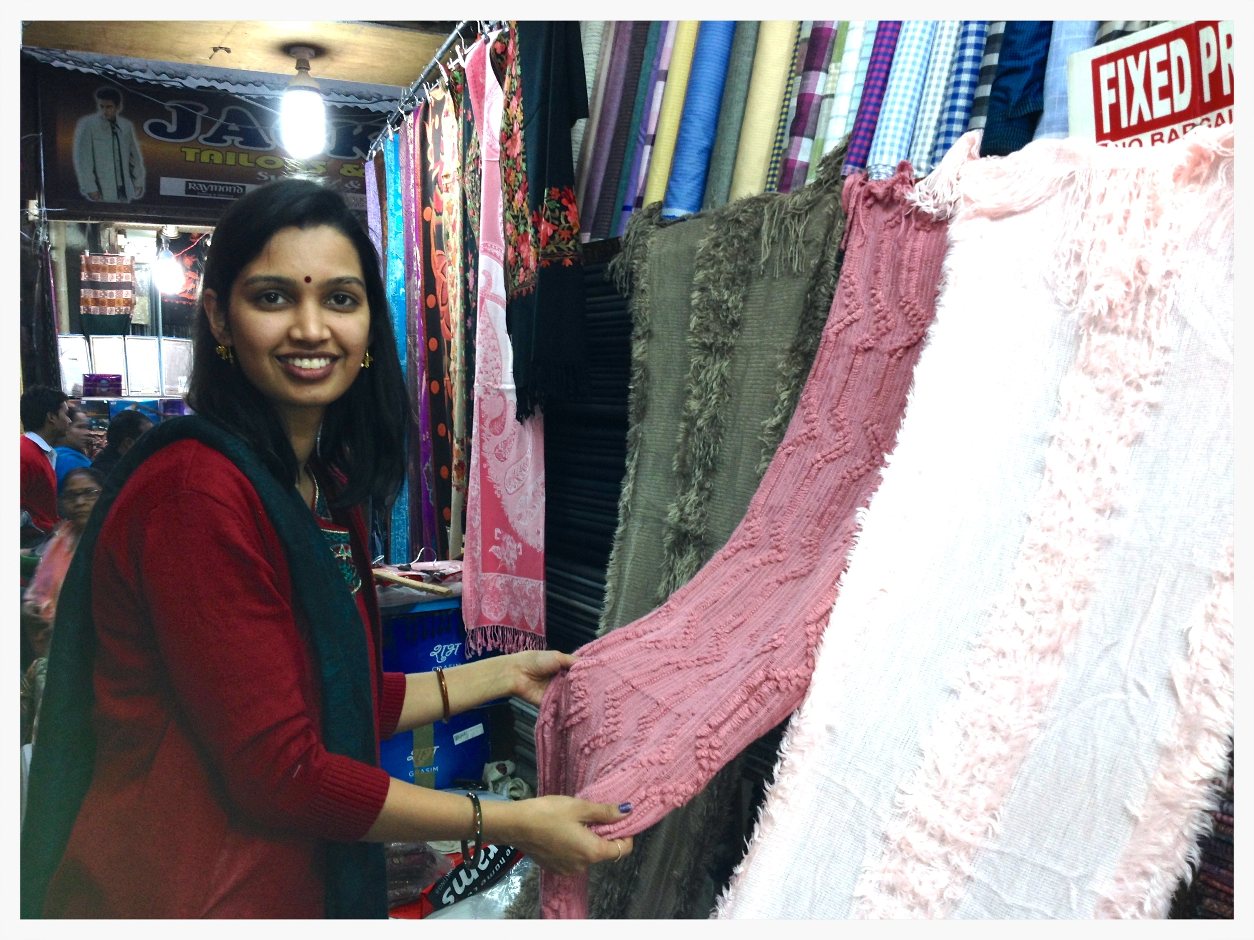 Richa searching for fabric :)