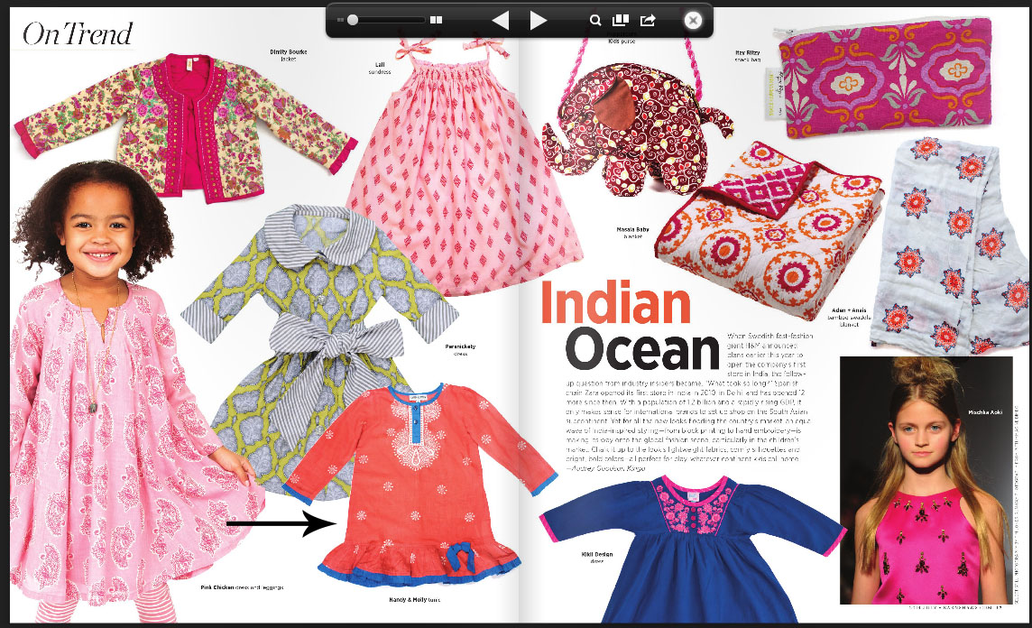 """Nandy & Molly's Taara Peach dress featured in """" On Trend """" section of Earnshaw's July 2014 issue."""