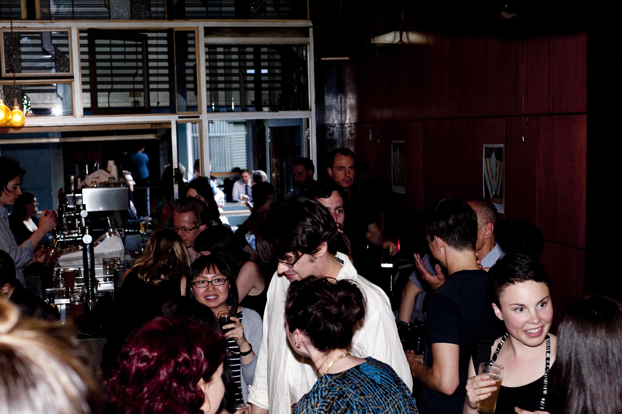 Excerpt Magazine Issue #1 Launch at Meyers Place, November, 2011. Such a great bar that we returned there this year for the launch of Issue #5. Photograph by Heather Lighton
