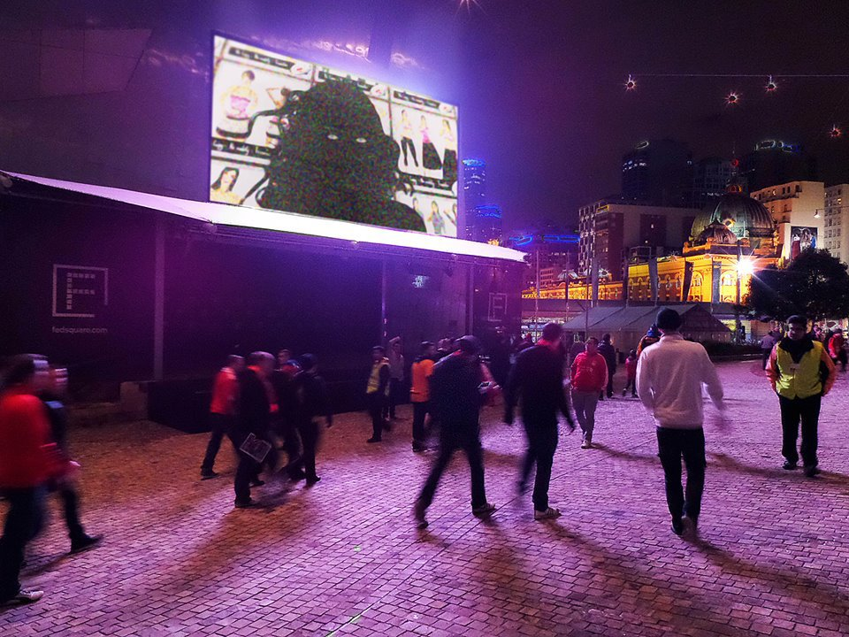 Image from the screening at Federation Square in 2013 of Herself:Exploring the self-portrait in video art with Amelia Johannes, Hayley Brandon, Georgie Roxby Smith and Pip Ryan. Curated by Michael Meneghetti for Artbox.