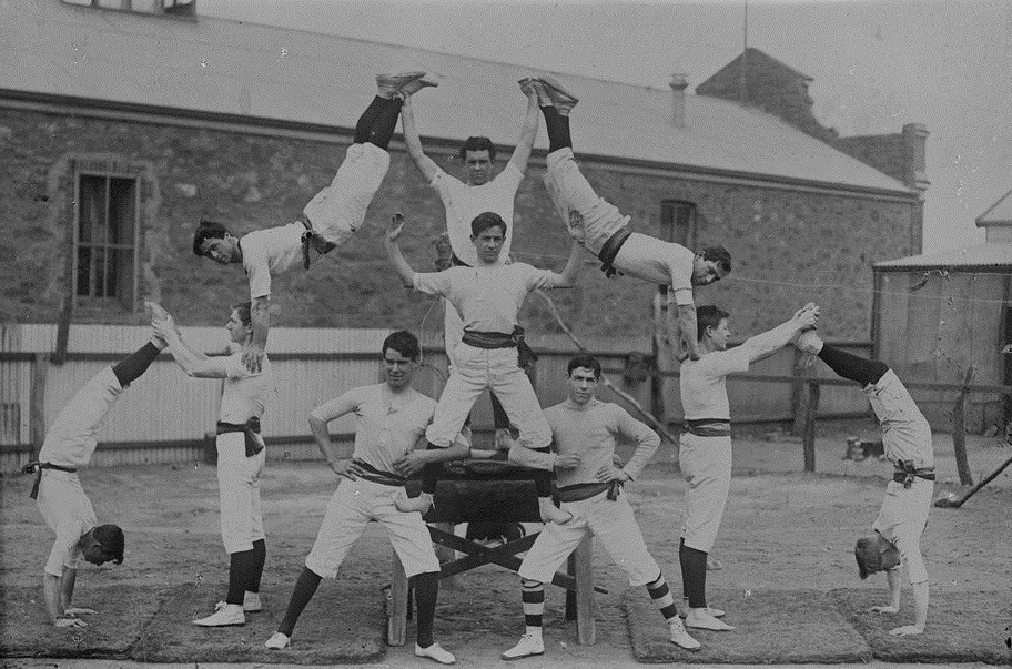 Human pyramid formed by members of the Ebenezer Gym Club, 1920-1930, State Library of Victoria Collections