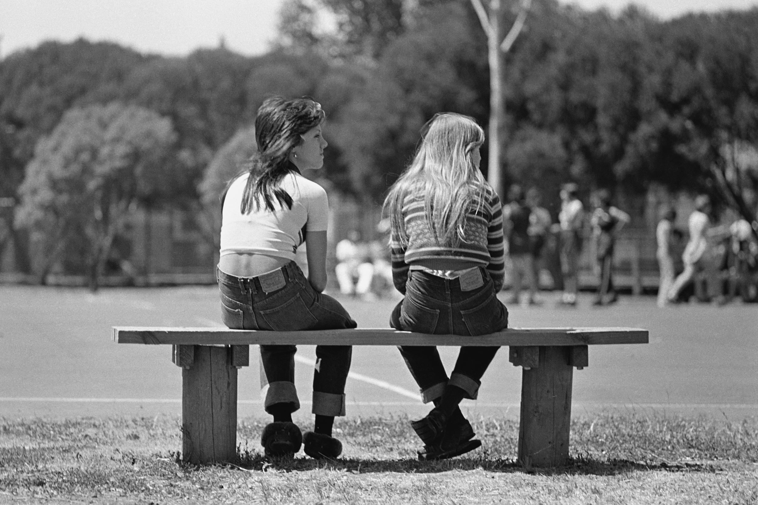 David Wadelton, Mayors Park, Clifton Hill, girls watching netball February, 1977