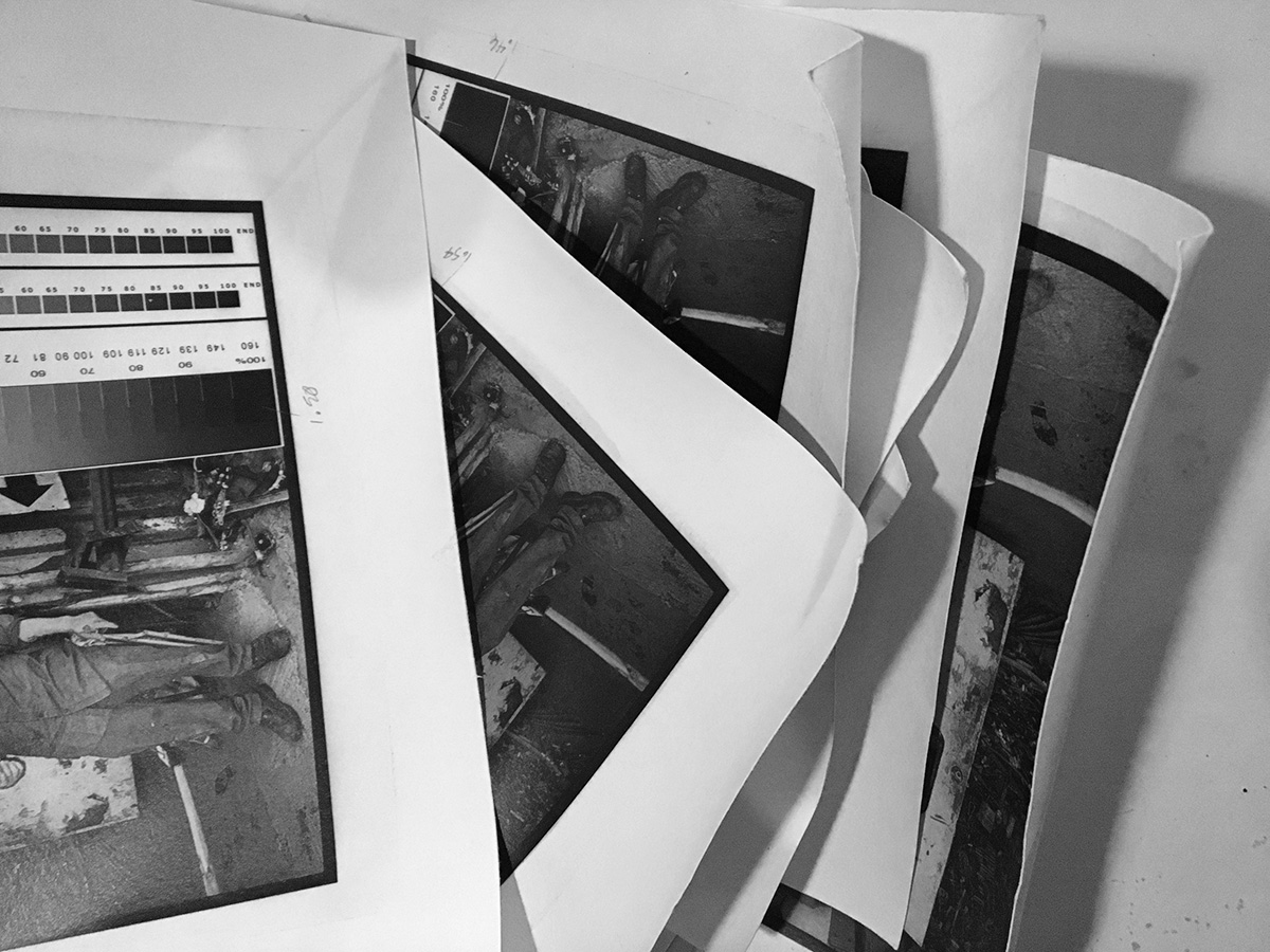A stack of carbon test prints