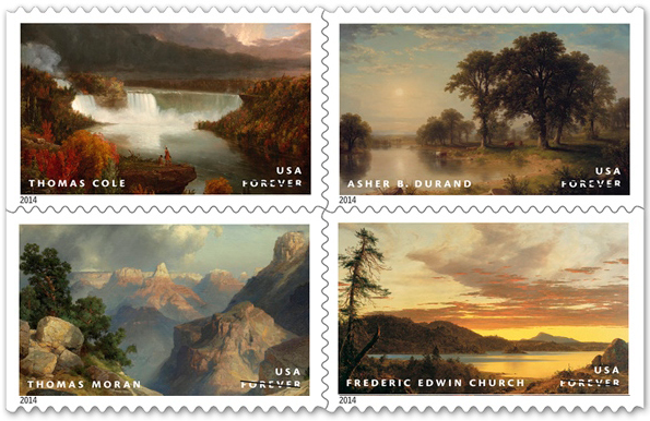 Hudson River School forever stamps, clockwise from top left: Thomas Cole, Distant View of Niagara Falls, 1830,  The Art Institute of Chicago ; Asher B. Durand, Summer Afternoon, 1865,  The Metropolitan Museum of Art ;  Frederic Edwin Church , Sunset, 1856, Munson-Williams-Proctor Arts Institute; Thomas Moran, Grand Canyon, 1912, The Nelson-Atkins Museum of Art - See  more here .