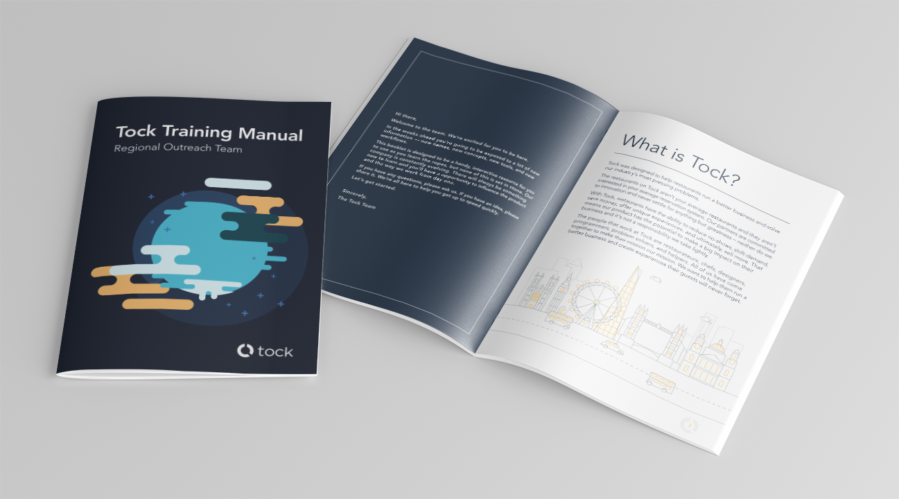 Training Manual  | 10-page quick-reference booklet for new hires. | Client:  Tock  | April 2017