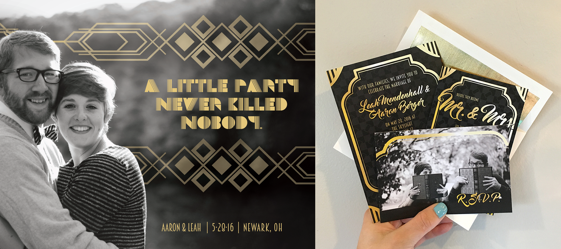 Wedding Invitations  | Save the Dates and formal invitation package. | Client: Aaron and Leah Berger | November 2015