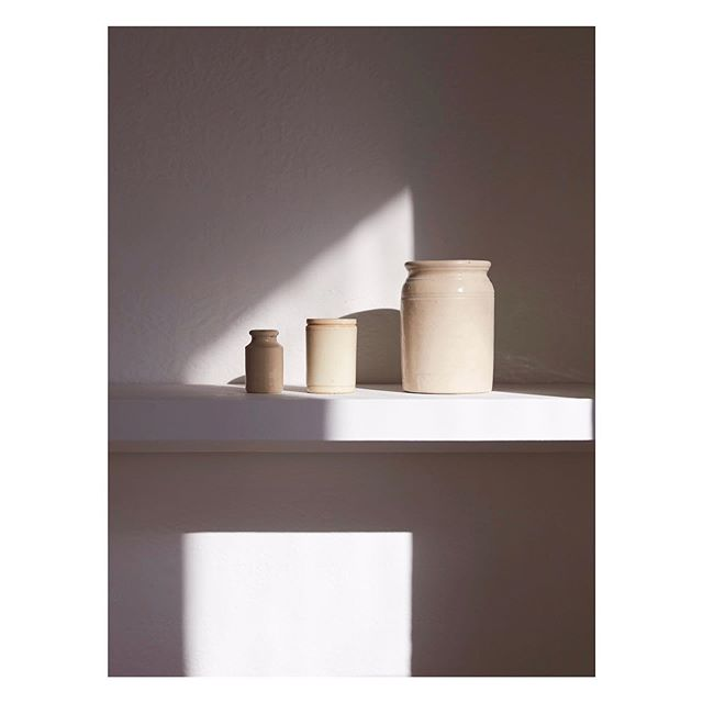 Morning light // precious objects in the sun this morning. #stilllife #wabisabi #interiors #light #shadow #jars