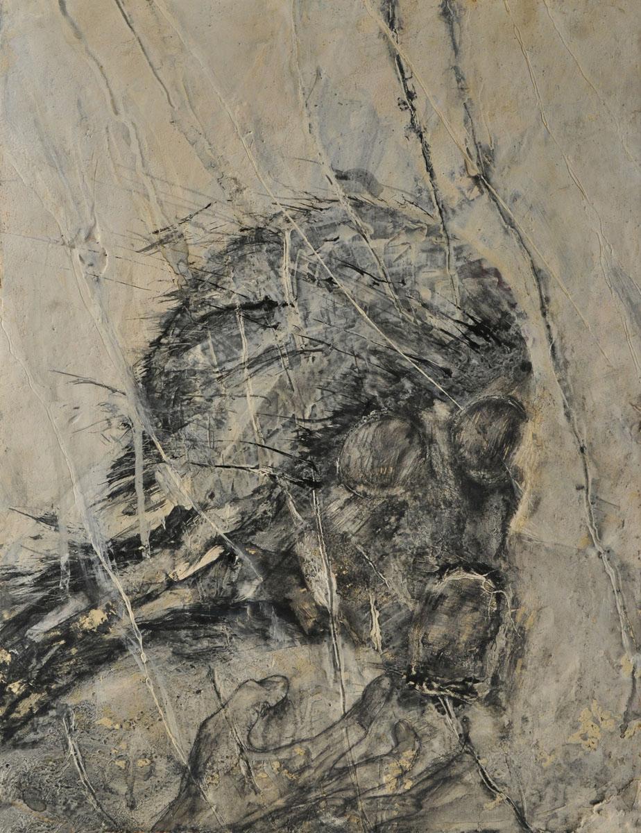 V.F. 1986. 44 x 33.Plywood,acrylic, oil.