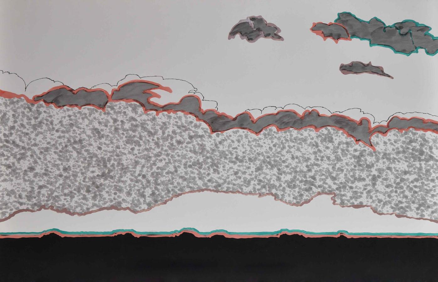 V.F. 1997. 60 x 90. Paper, inc, acrylic,blacklacquer.