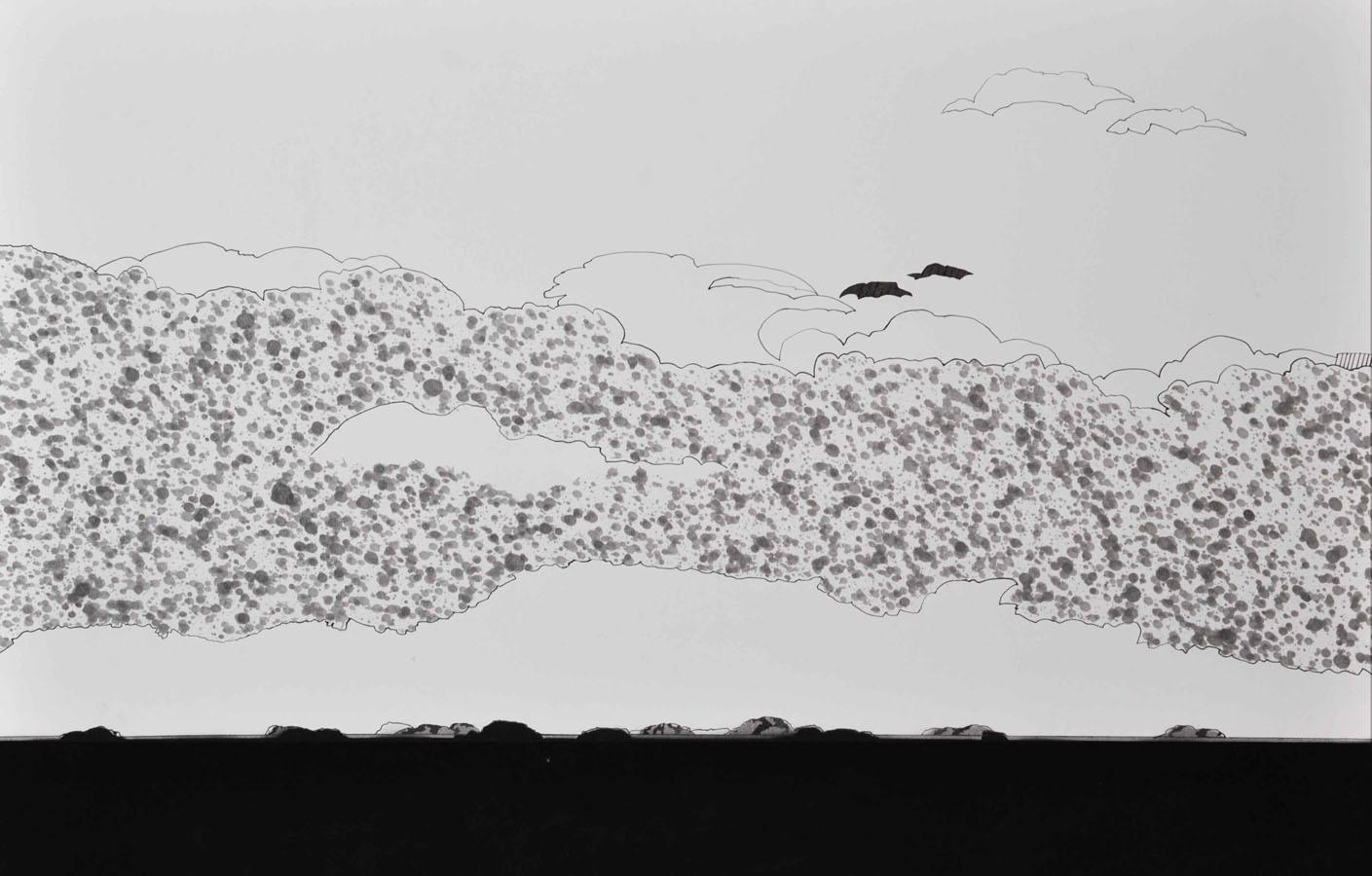 V.F. 1997. 60 x 90. Paper, inc, acrylic, blacklacquer.