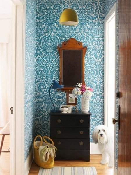 """Dogs. Like babies, they make every photo better. :) But this entry/drop zone would be gorgeous even without Man's Best Friend. ImageCourtesy  Kim Cornelison Photography . """" Silvergate """" wallpaper by Farrow & Ball."""