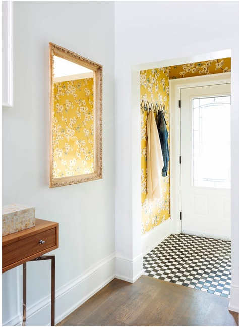 "Courtesy of  Meghan Carter Design . Photographer:  Stephani Buchman . "" Seraphine "" wallpaper by  Romo ."