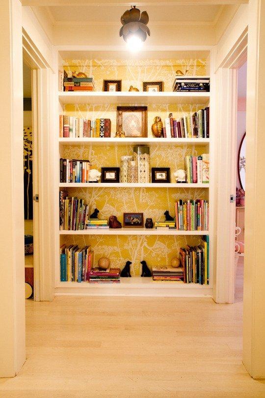 Do the back of a bookshelf. (Courtesy of Tamara Honey of  House of Honey )