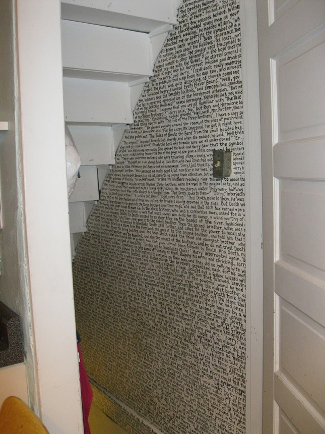 The entire first chapter of  Harry Potter and the    Deathly Hallows,  painted by hand, where else? Under the stairs.(Courtesy of  When Boredom Strikes  )