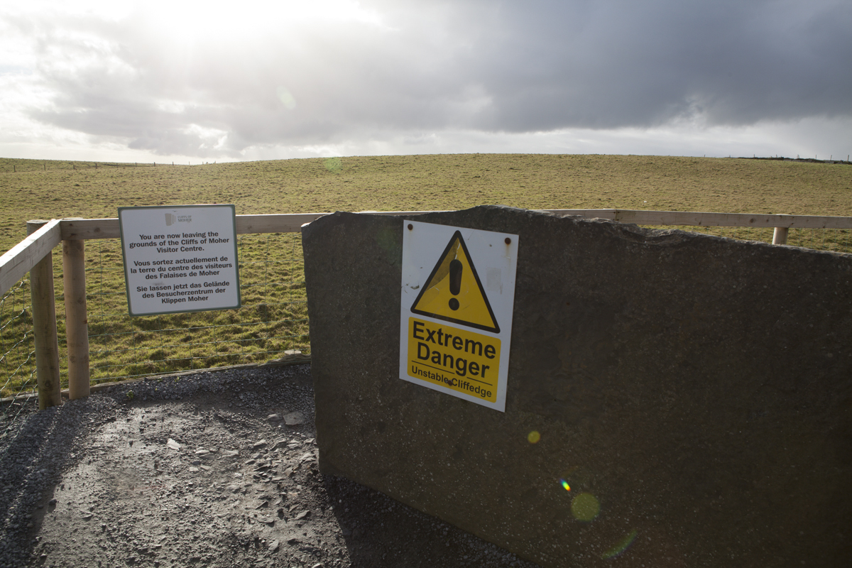 Warning as you approach the cliffs.