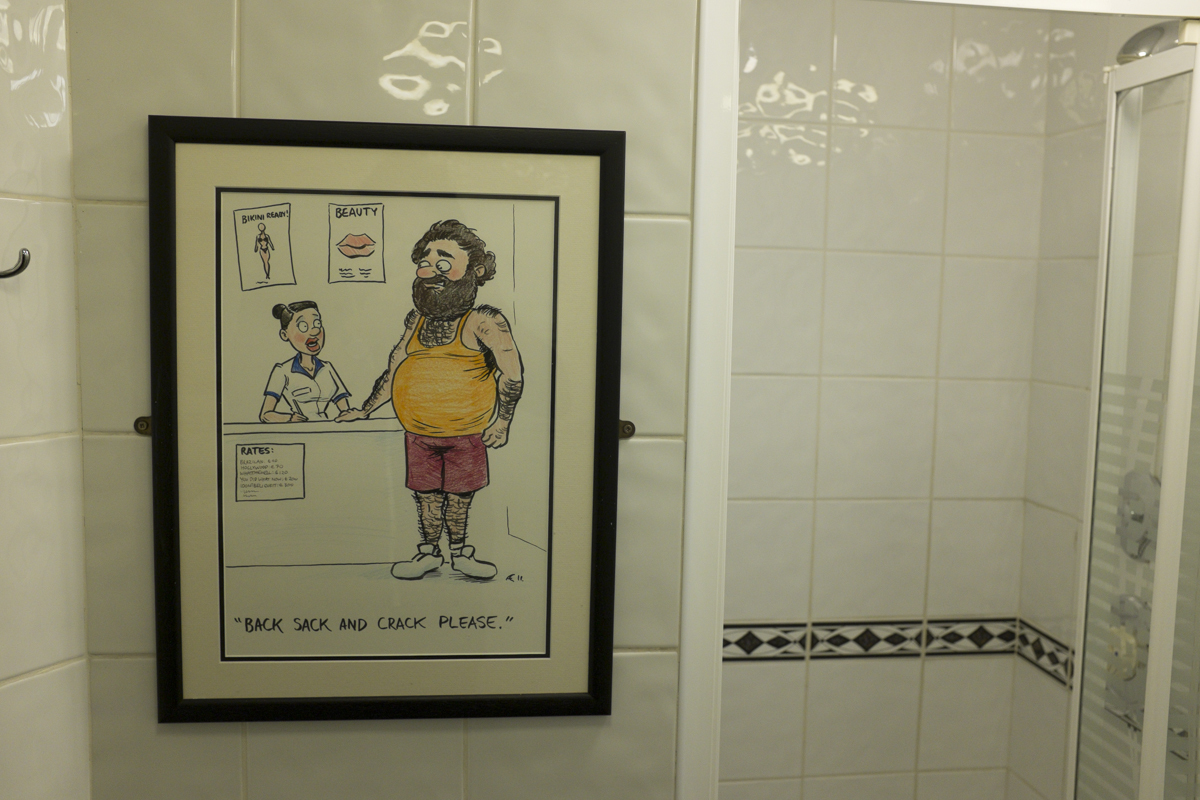 Some bathroom humor at the Hostel.