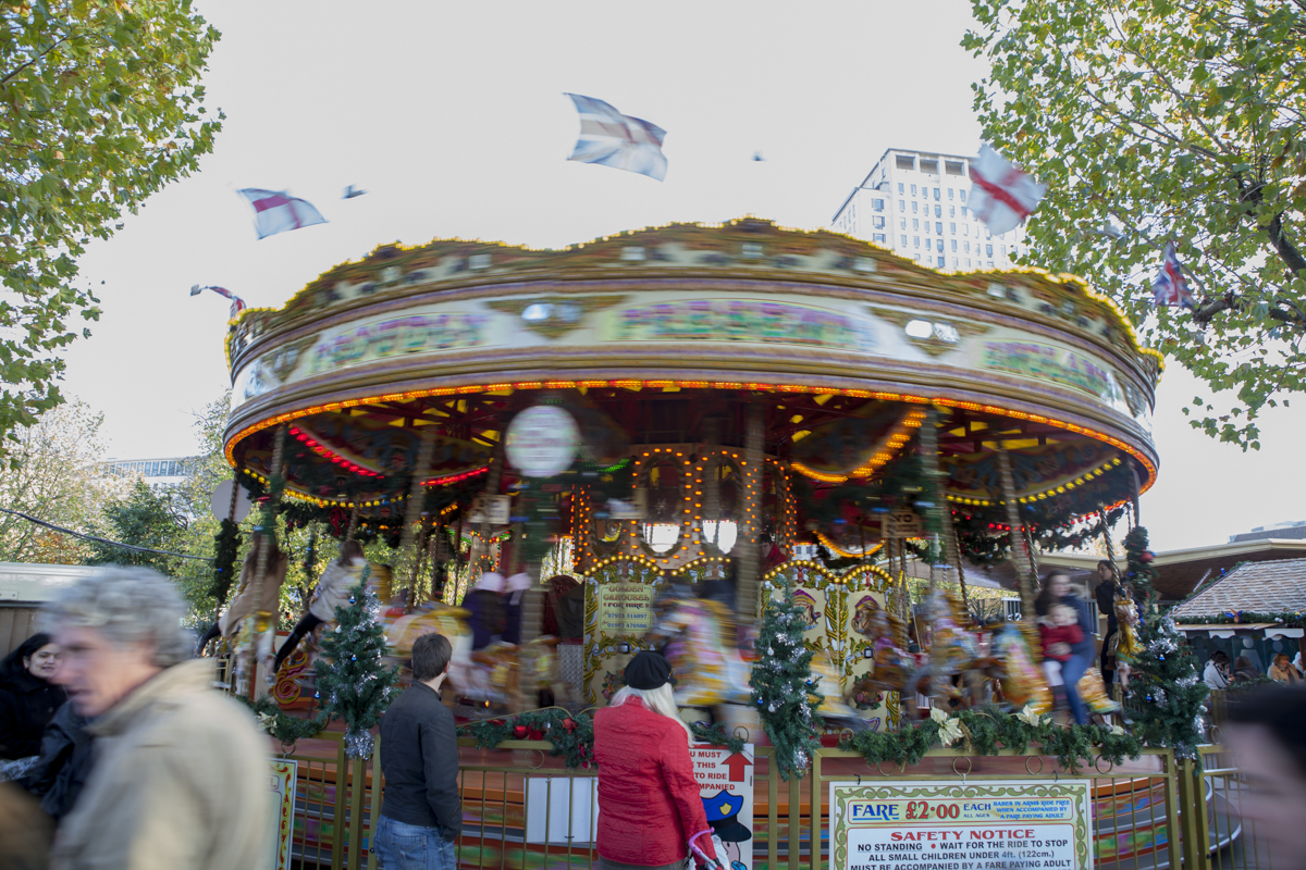 They had a x-mas merry-go-round and all.
