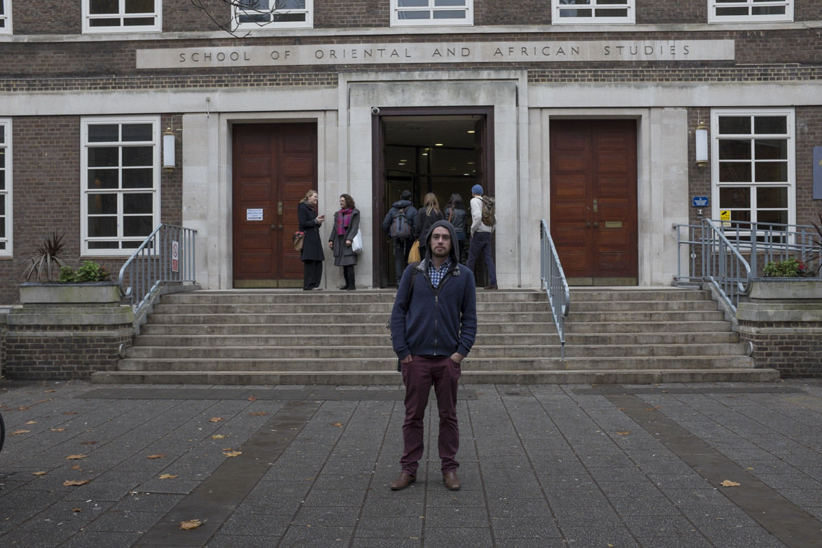 Here's Will in front of his school SOAS (School of Oriental and African Studies).