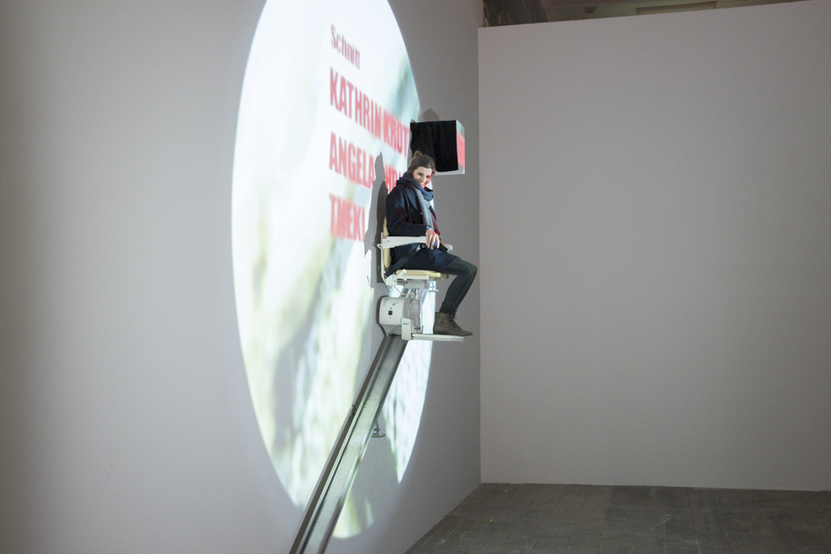 This was nice, a kind of chair for elderly then installed is a video which an audience of one can see.