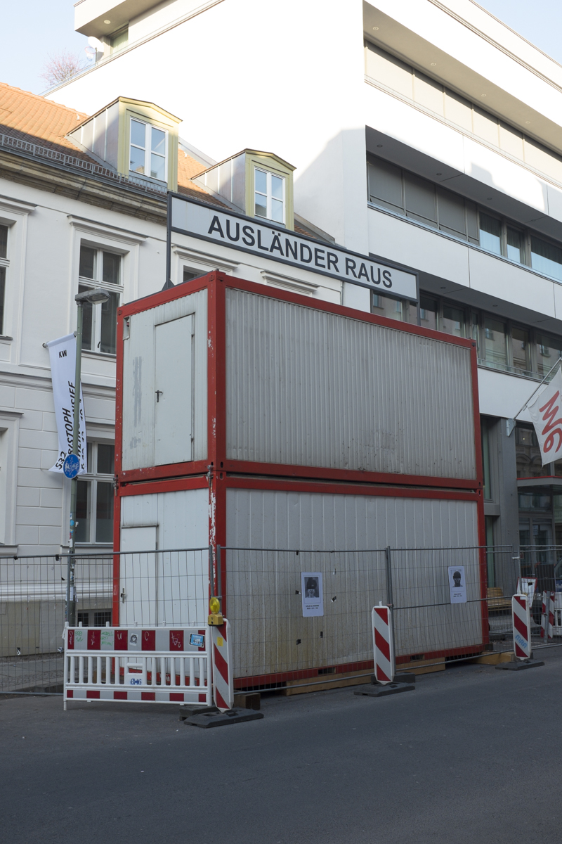 Outside of the museum he has a kind of protest piece that talks about the poor treatment to African migrants to Germany.