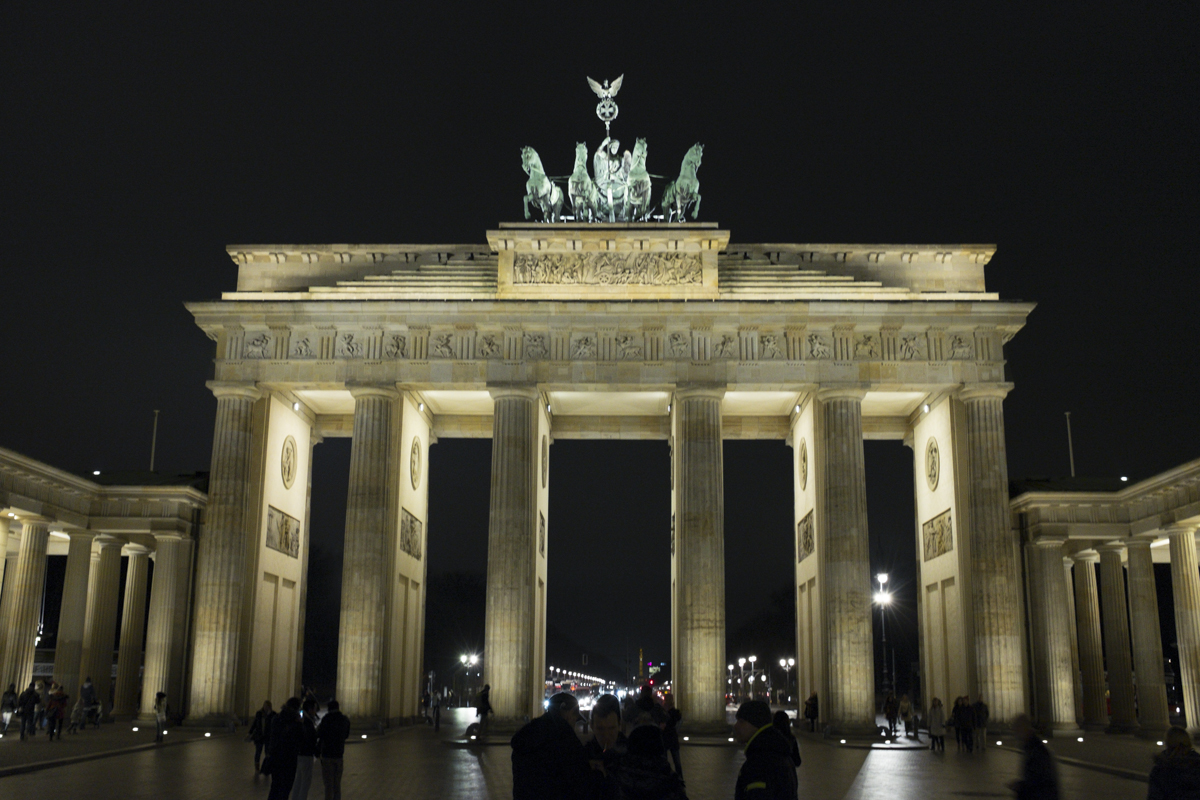 This is the Brandenburg Gate, a very long standing structure in Berlin.