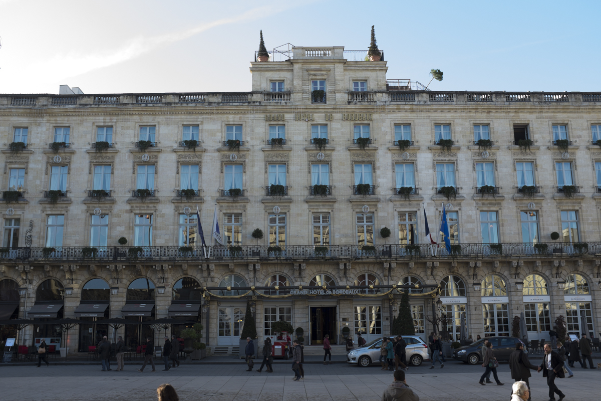 Opposite the Grande Theatre sits likely the most expensive hotel in Bordeaux.