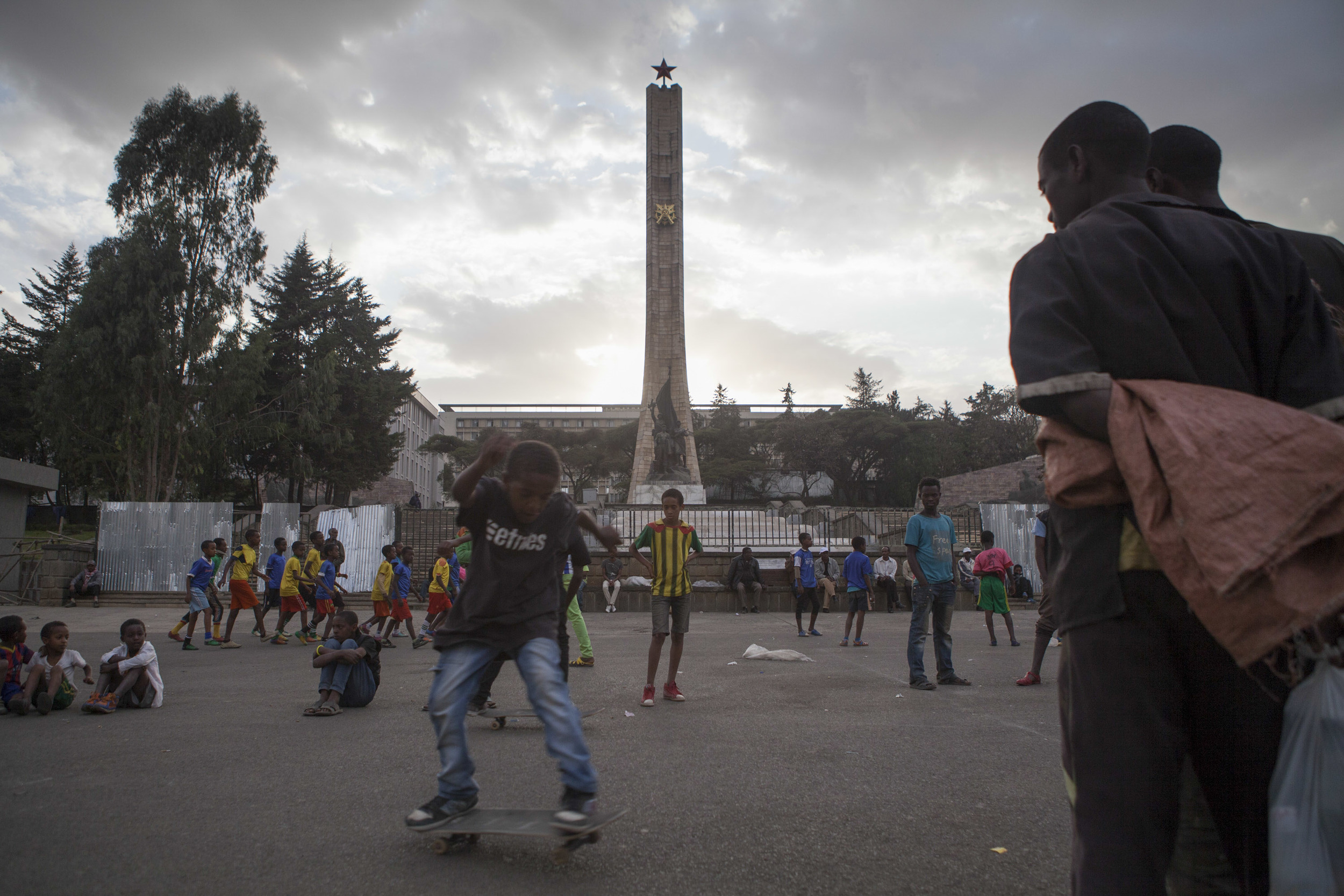 An Ethiopian skater, part of the Ethioskate organization, are pictured in the National Museum area of Addis Ababa on 12 March 2015.  There is a growing skateboarding movement happening in Ethiopia, being taken up by various skating groups of young people of assorted ages ranging form 7 to 22 years old. AFP Photo / Zacharias Abubeker