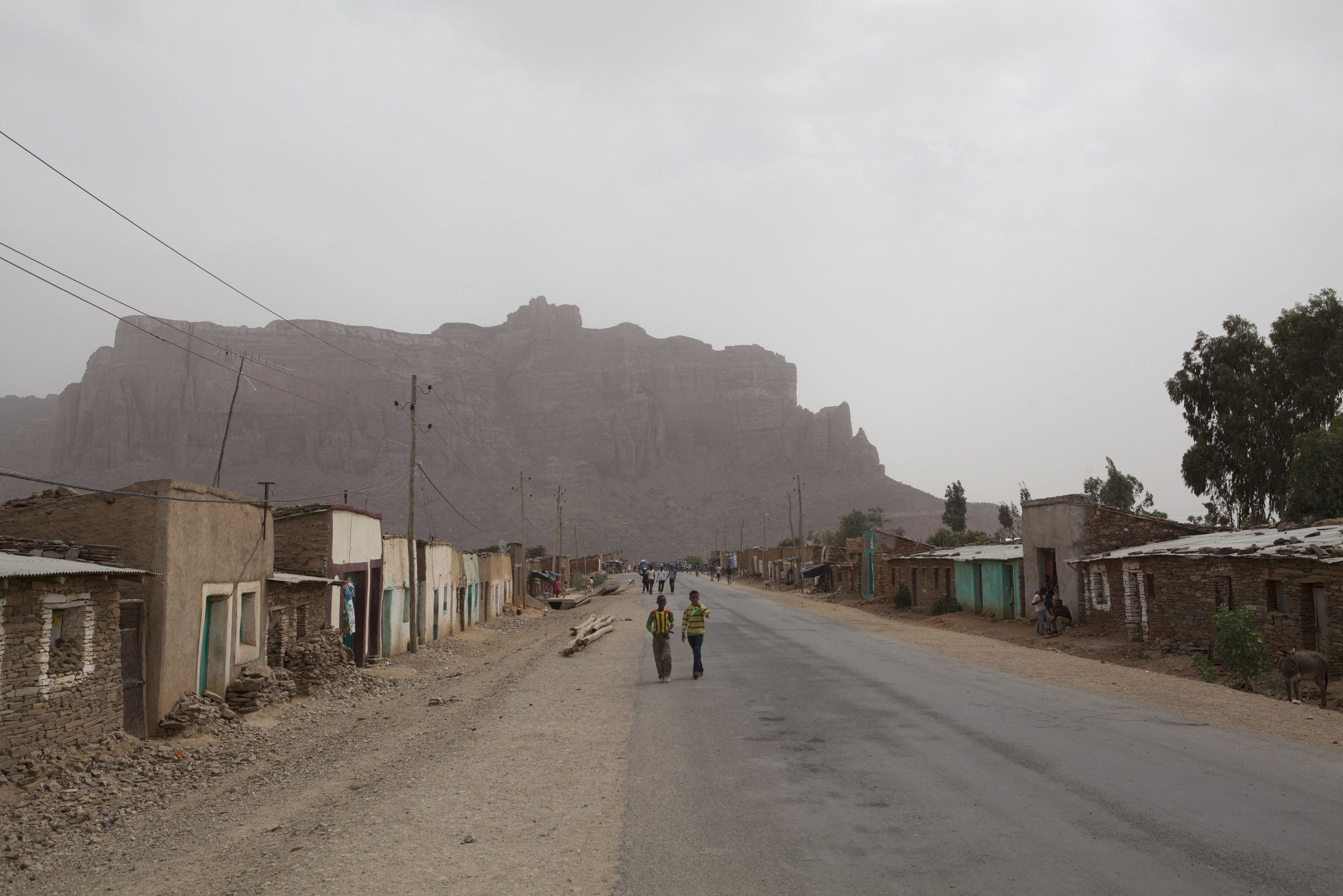 The small town of Megab, which sits it the shadow of the mountain range.