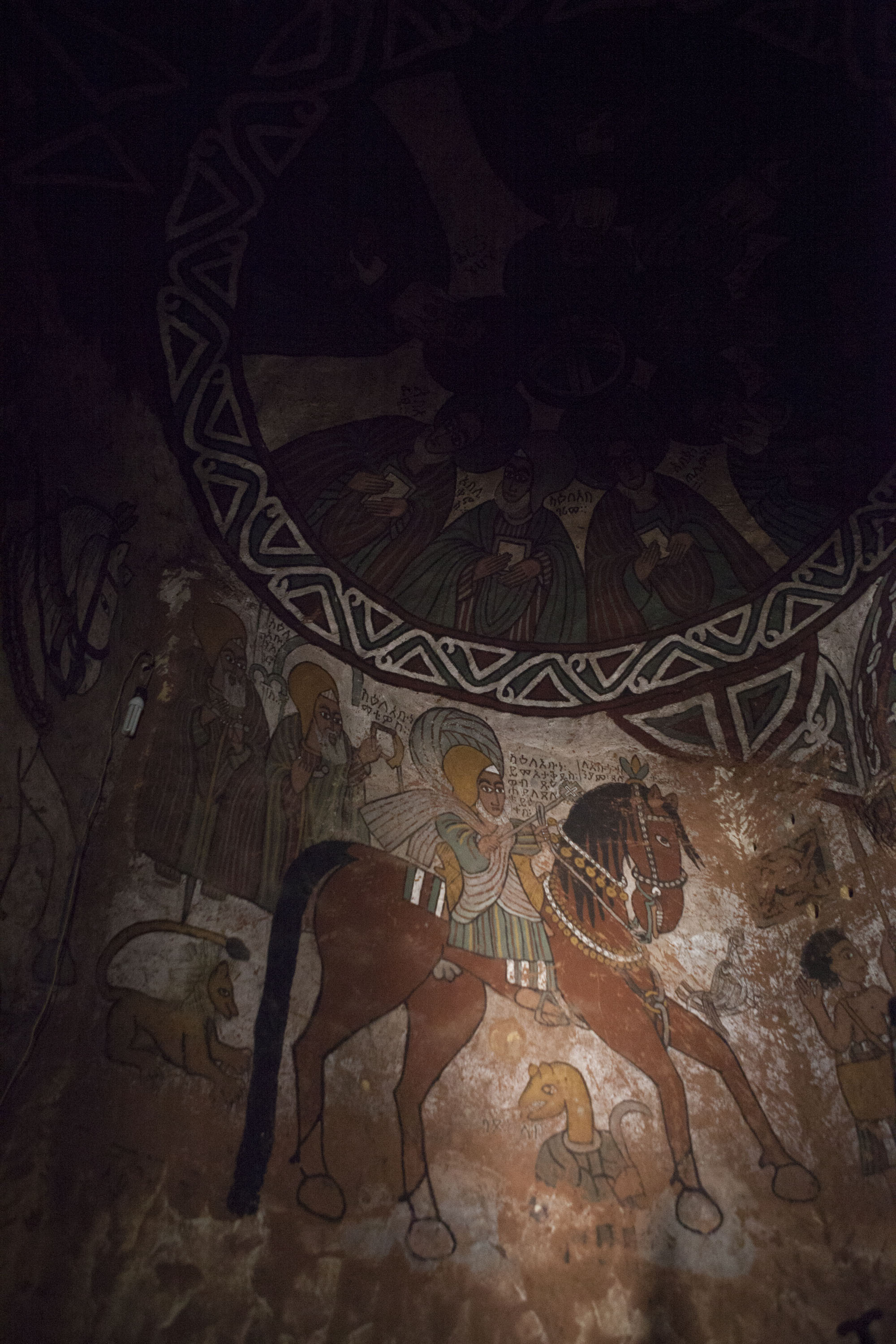 A wall painting inside of Abuna Yemata Church, which is said to have been built by a Syrian priestin the 5th century. It is said to be the most inaccessible church in the world.