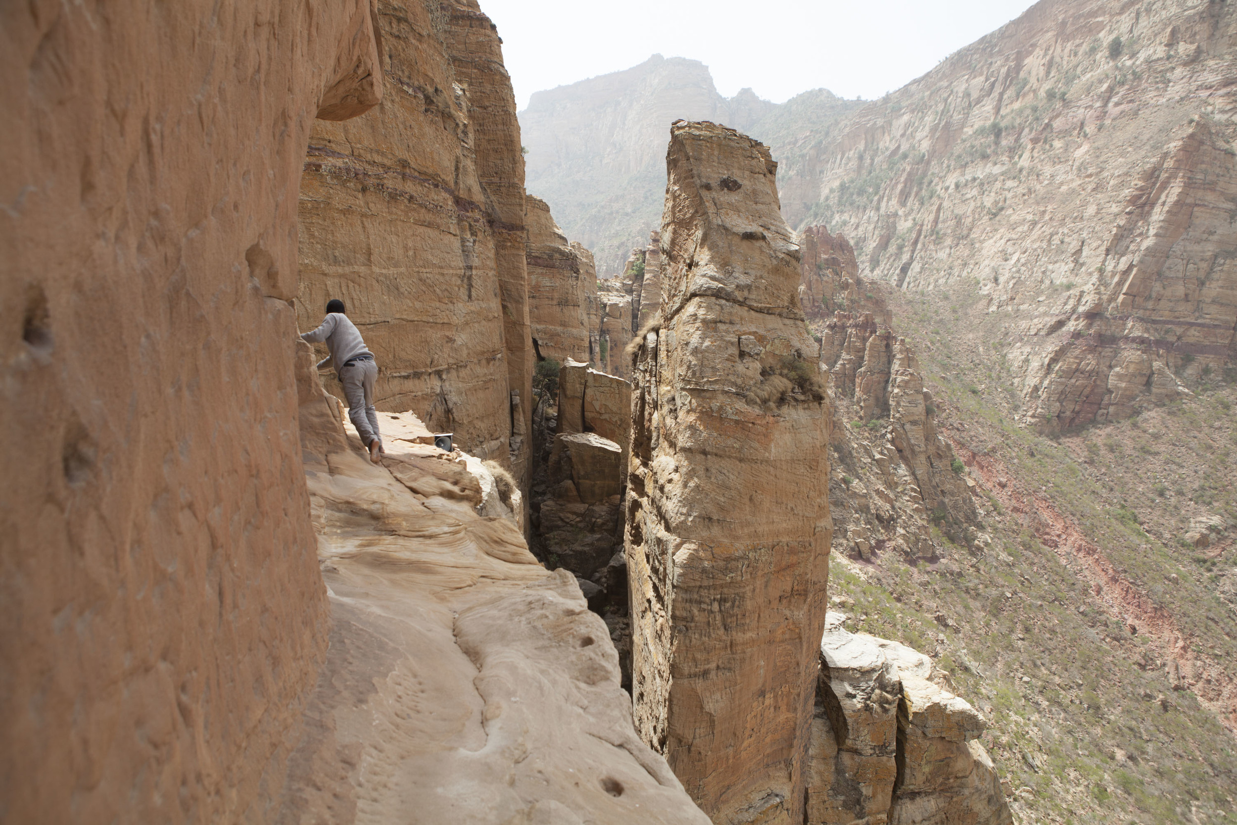 """""""The Ledge"""", a rather terrifying passage to the entrance of the Abuna Yemata Church."""